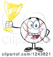 Clipart Of A Cartoon Baseball Character Holding Up A Trophy Royalty Free Vector Illustration