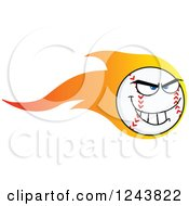Clipart Of A Tough Cartoon Baseball Character With A Trail Of Flames Royalty Free Vector Illustration by Hit Toon