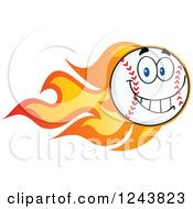 Clipart Of A Happy Cartoon Baseball Character With A Trail Of Flames Royalty Free Vector Illustration by Hit Toon