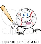 Clipart Of A Cartoon Baseball Character Batting Royalty Free Vector Illustration by Hit Toon