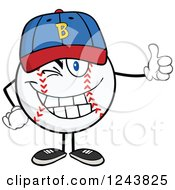Clipart Of A Cartoon Baseball Character Wearing A Hat Giving A Thumb Up And Winking Royalty Free Vector Illustration
