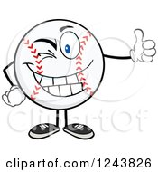 Clipart Of A Cartoon Baseball Character Giving A Thumb Up And Winking Royalty Free Vector Illustration
