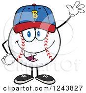 Clipart Of A Cartoon Baseball Character Waving A Hat And Waving Royalty Free Vector Illustration