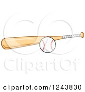 Clipart Of A Wooden Baseball Bat And Ball Royalty Free Vector Illustration by Hit Toon