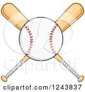 Clipart Of Crossed Wooden Baseball Bats And A Ball Royalty Free Vector Illustration by Hit Toon