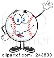 Clipart Of A Cartoon Baseball Character Waving Royalty Free Vector Illustration by Hit Toon