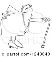 Clipart Of A Black And White Granny With A Bad Back And Cane Royalty Free Vector Illustration by djart