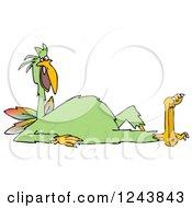 Clipart Of A Strange Green Bird Resting Royalty Free Illustration