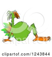 Clipart Of A Strange Green Bird Leaning Back Royalty Free Illustration
