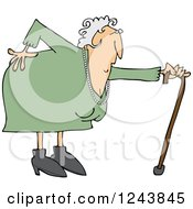 Clipart Of A Caucasian Granny With A Bad Back And Cane Royalty Free Vector Illustration