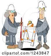 Clipart Of Male And Female Construction Workers At A Manhole Royalty Free Illustration
