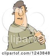 Clipart Of A Caucasian Man With Heartburn Holding His Chest Royalty Free Vector Illustration