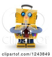 Clipart Of A 3d Thirsty Yellow Retro Robot Drinking With A Straw Royalty Free Illustration