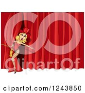Clipart Of A Female Performer On Stage Royalty Free Vector Illustration