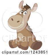 Clipart Of A Cute Brown Baby Donkey Sitting Royalty Free Vector Illustration
