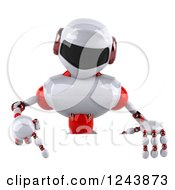 Clipart Of A 3d White And Red Robot Pointing Down Over A Sign Royalty Free Illustration