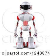 Clipart Of A 3d White And Red Robot Royalty Free Illustration