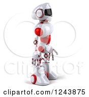 Clipart Of A 3d White And Red Robot Facing Right Royalty Free Illustration