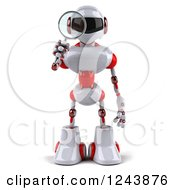 Clipart Of A 3d White And Red Robot Looking Through A Magnifying Glass Royalty Free Illustration