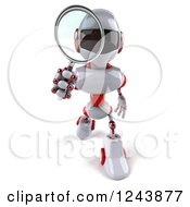 Clipart Of A 3d White And Red Robot Walking And Looking Through A Magnifying Glass Royalty Free Illustration