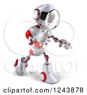 Clipart Of A 3d White And Red Robot Walking And Looking Through A Magnifying Glass 2 Royalty Free Illustration