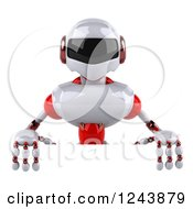 Clipart Of A 3d White And Red Robot Over A Sign Royalty Free Illustration