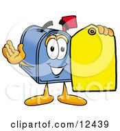 Blue Postal Mailbox Cartoon Character Holding A Yellow Sales Price Tag
