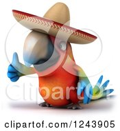Clipart Of A 3d Mexican Macaw Parrot Holding A Thumb Up Royalty Free Illustration