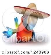 Clipart Of A 3d Mexican Macaw Parrot Gesturing Royalty Free Illustration