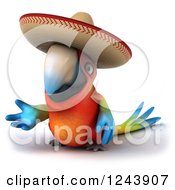 Clipart Of A 3d Mexican Macaw Parrot Gesturing 2 Royalty Free Illustration