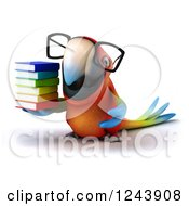 Clipart Of A 3d Bespectacled Macaw Parrot With A Stack Of Books Royalty Free Illustration