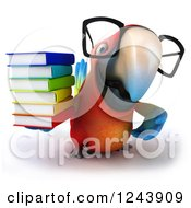 Clipart Of A 3d Bespectacled Macaw Parrot With A Stack Of Books 2 Royalty Free Illustration