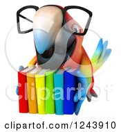 Clipart Of A 3d Bespectacled Macaw Parrot With A Stack Of Books 3 Royalty Free Illustration