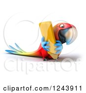 Clipart Of A 3d Macaw Parrot Writing With A Pencil Royalty Free Illustration