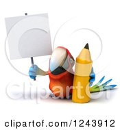 Clipart Of A 3d Macaw Parrot Holding A Blank Sign And A Pencil Royalty Free Illustration