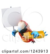 Clipart Of A 3d Macaw Parrot Holding A Blank Sign And A Pencil 2 Royalty Free Illustration