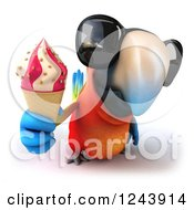 Clipart Of A 3d Macaw Parrot Wearing Sungasses Flying And Holding Out An Ice Cream Cone Royalty Free Illustration