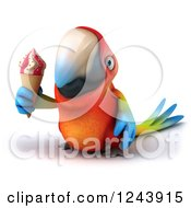 Clipart Of A 3d Macaw Parrot Holding An Ice Cream Cone Royalty Free Illustration