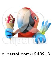 Clipart Of A 3d Macaw Parrot Holding An Ice Cream Cone Over A Sign Royalty Free Illustration