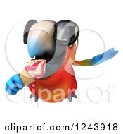 Clipart Of A 3d Macaw Parrot Wearing Sungasses Flying And Eating An Ice Cream Cone Royalty Free Illustration
