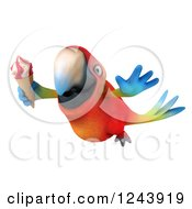 Clipart Of A 3d Macaw Parrot Flying With An Ice Cream Cone Royalty Free Illustration