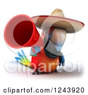 Clipart Of A 3d Mexican Macaw Parrot Using A Megaphone Royalty Free Illustration
