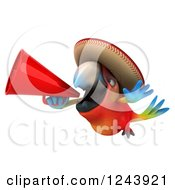 Clipart Of A 3d Mexican Macaw Parrot Flying With A Megaphone Royalty Free Illustration