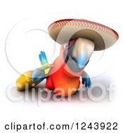 Clipart Of A 3d Mexican Macaw Parrot Pulling A Suitcase Royalty Free Illustration