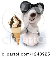 Clipart Of A 3d Polar Bear In Sunglasses Holding Up An Ice Cream Cone Royalty Free Illustration