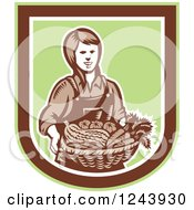 Clipart Of A Retro Woodcut Female Farmer Holding A Basket Of Produce In A Shield Royalty Free Vector Illustration