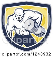 Clipart Of A Retro Buff Bodybuilder Lifting Heavy Weights Over A Shield Royalty Free Vector Illustration