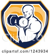 Clipart Of A Retro Male Bodybuilder Doing Bicep Curls With A Dumbbell Over A Shield Royalty Free Vector Illustration