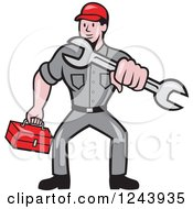 Clipart Of A Cartoon Auto Mechanic Holding A Tool Box And Wrench Royalty Free Vector Illustration
