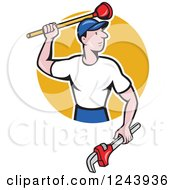Clipart Of A Cartoon Male Plumber With A Plunger And Monkey Wrench Over A Circle Royalty Free Vector Illustration